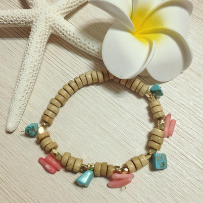turquoise & pink coral wood bracelet