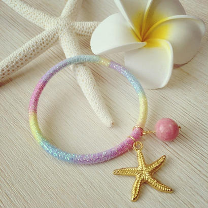 starfish&pink coral gradation hair accessory