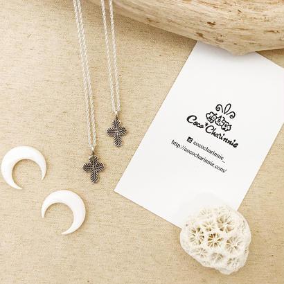 [Silver925] Karen silver leaf  cross  necklace  💎