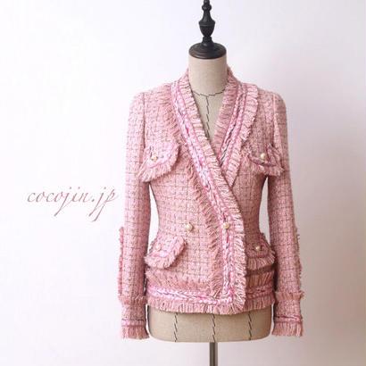 さくらピンクが大人可愛い★ 華やかツイード 美人 ジャケット ぴたっとフィット Vネック