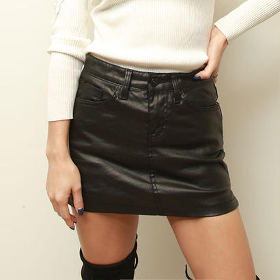 光沢ブラックデニムミニスカート
