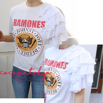フリルポイントかわいいTシャツ-ホワイト