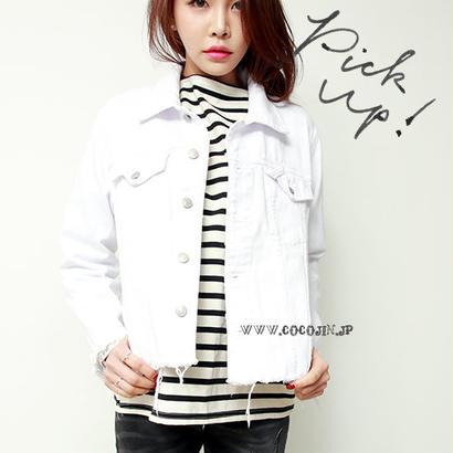 裾切りっぱなし加工 ホワイトデニムジャケット 春 ビンテージ カジュアル