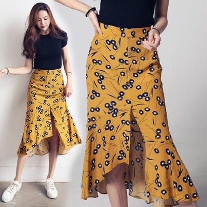 アンバランス スリットミモレ丈スカート 全3色