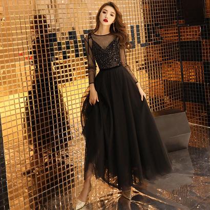 ブラック スパンコール シースルー ロングドレス