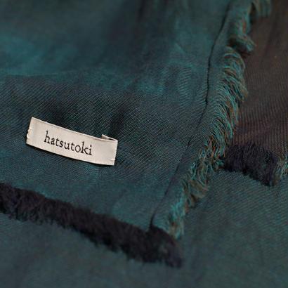 hatsutoki/doubleface cotton stole(Green/red/navy/black)