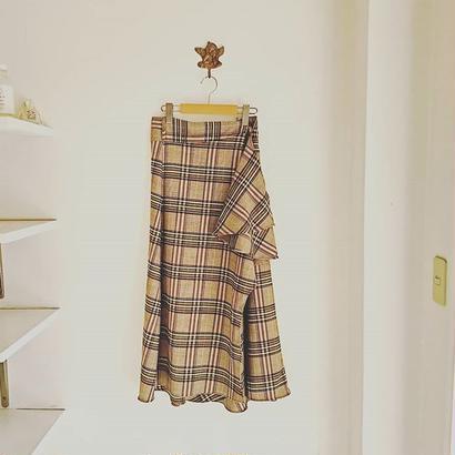 Madras check long skirt