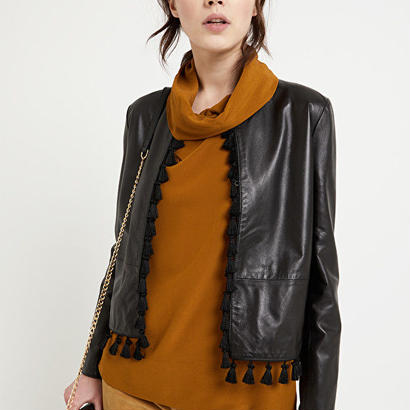 leather tassel jacket