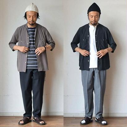 【七分袖の羽織り】MANUAL ALPHABET マニュアルアルファベット Vネックシャツカーディガン 3/4スリーブ グレー/ブラック