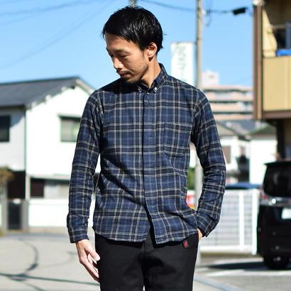 【2016秋冬新作】nisica B.D SHIRT NEL CHECK NVY×GRY ボタンダウンシャツ ネルチェック  ネイビー×グレー