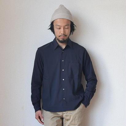 【エレガンスな春シャツ】LA MOND ラモンド バックサテン リラックスシャツ ネイビー/サンドグレー