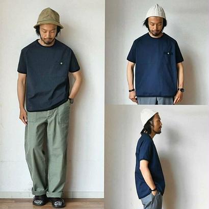 【クールな新色が登場!】Re made in tokyo japan リラックスシアサッカーTシャツ ネイビー/ブラックストライプ