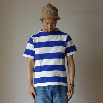 nisica ニシカ  GANSEY NECK CUTSEWN S/S ガンジーネックカットソー半袖  WHT×BLE ホワイト×ブルー
