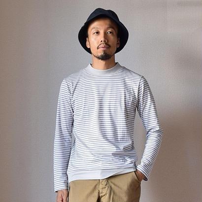 【2017秋冬新作】Re made in tokyo japan  PERFECT INNER パーフェクトインナー モックネック ボーダーTシャツ ホワイト×グレー