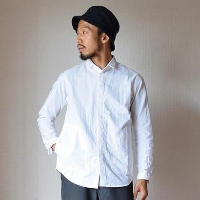 【ミニマルカラーのポケット付シャツ】nisicamokusiro  ニシカモクシロ 比翼シャツ ホワイト