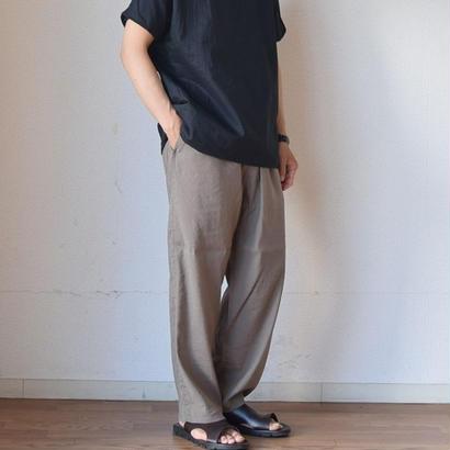 【リネン・レーヨン混紡の上質素材】LA MOND ラモンド フレンチ イージーワイド パンツ ブラック/カーキ