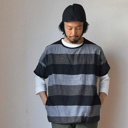 【両面メイン級のシャツT】MANUAL ALPHABET  マニュアルアルファベット ボーダーリバーシブルT ブラック