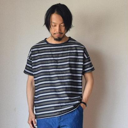 【両面メイン級のシャツT】MANUAL ALPHABET  マニュアルアルファベット ボーダーリバーシブルT ネイビー