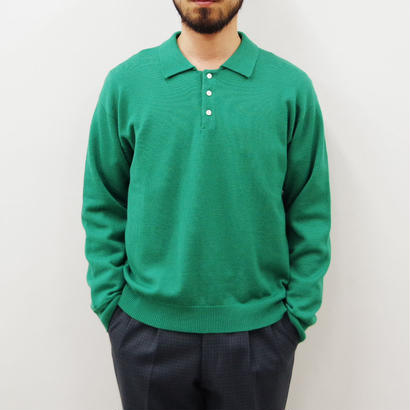 bunt / L/S KNIT POLO SHIRTS / col.グリーン