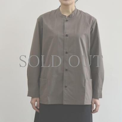 THE HINOKI / コットンボイルパラシュートクロス スタンドアップカラーシャツ / col.ブラウン / Lady's