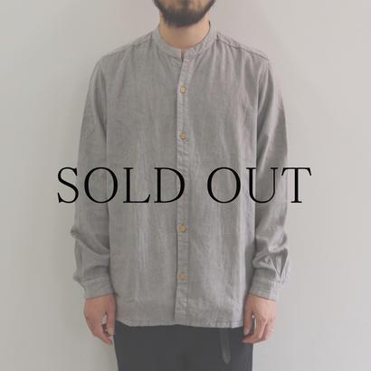 THE HINOKI / リネンコットン スタンドアップカラーシャツ / col.グレー