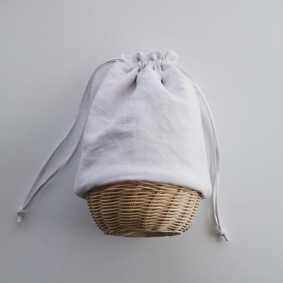 籠巾着・ アンティークリネン    ホワイト