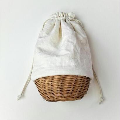 巾着・ アンティークリネン ホワイト