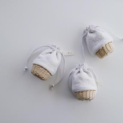 籠巾着 S ・アンティークリネン   ホワイト