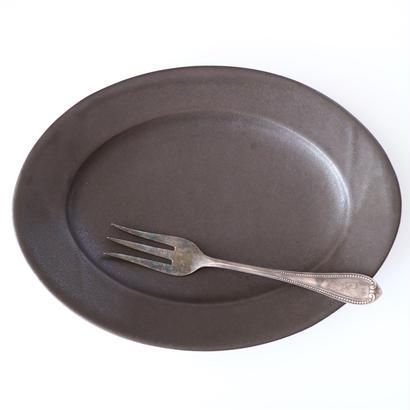 awabiware  オーバル皿M(黒マット)