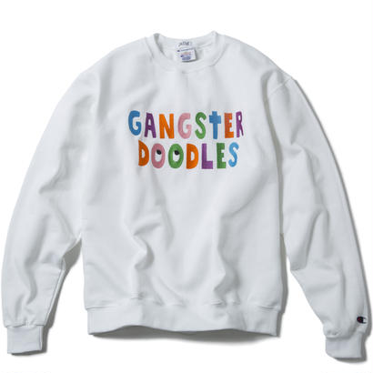 GANGSTER DOODLES CREWNECK (WHITE) :  ARTWORK by GANGSTER DOODLES【CC17AW-016】