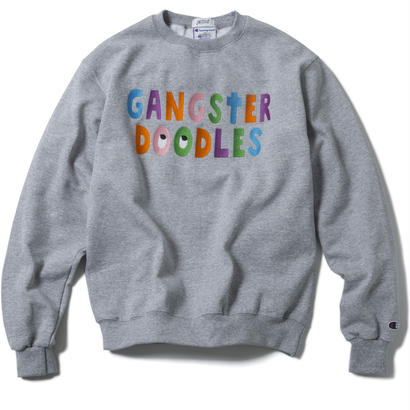 GANGSTER DOODLES CREWNECK (GREY) :  ARTWORK by GANGSTER DOODLES【CC17AW-016】