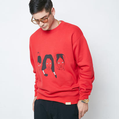 CREEP CREWNECK (RED)  :  GANGSTER DOODLES【CC18SS-008】