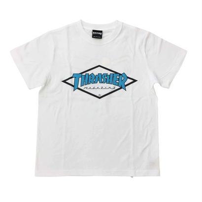 "Keith Haring × THRASHER Unisex T-Shirts ""Skater "" White × Blue【KH-038】"