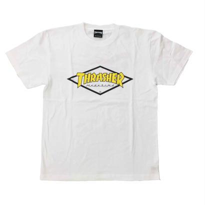 "Keith Haring × THRASHER Unisex T-Shirts ""Skater "" White × Yellow【KH-039】"
