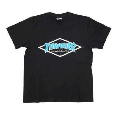 "Keith Haring × THRASHER Unisex T-Shirts ""Skater "" Black × Blue【KH-036】"