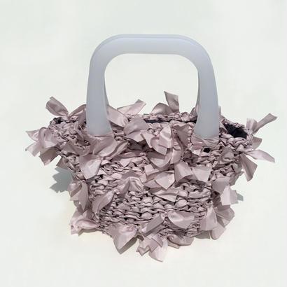 basket bag / lavender pink × white