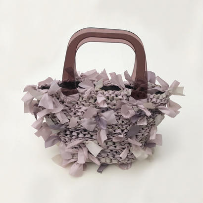 basket bag / lavender ×pink × beige marble × brown
