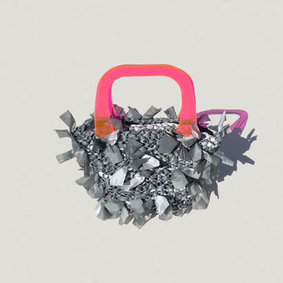 【NEW!!】basket bag / gray marble × pink