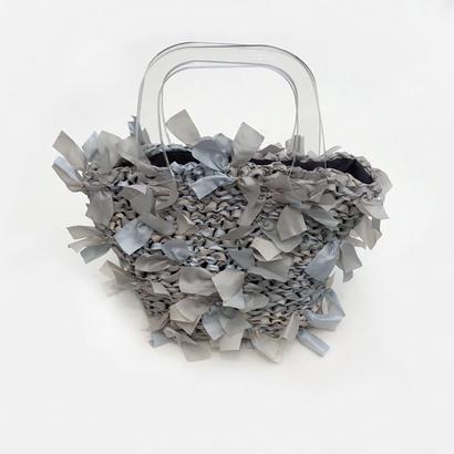 basket bag / gray & beige marble × clear