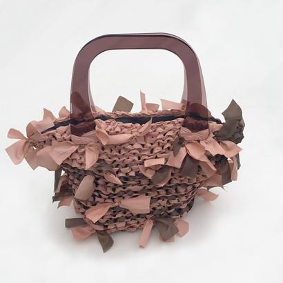 basket bag / orange & brown marble × brown