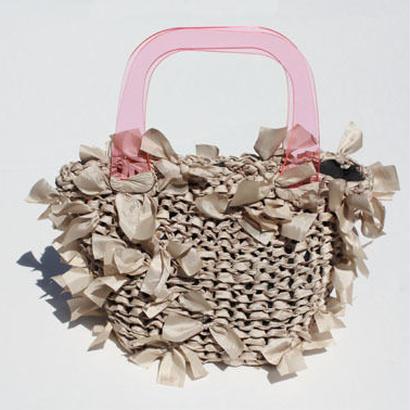 basket bag / beige × pink