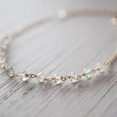 【14kgf】プチ アクアマリンのブレスレット/Petit aquamarine bracelet