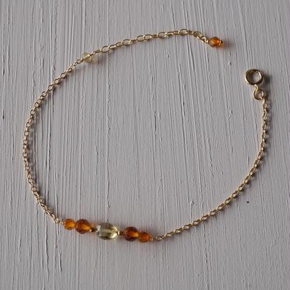 【14kgf】琥珀のブレスレット【14kgf】 Amber bracelet
