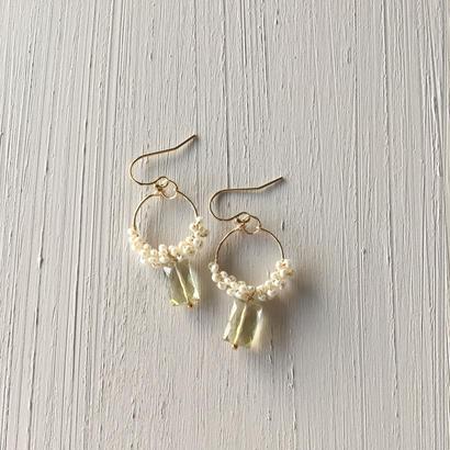 【14kgf】レモンクォーツと淡水パールのピアス【14kgf】Lemon quartz  x Freshwater pearl earrings