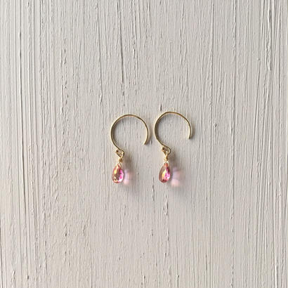 【14kgf】【11月誕生石】小さなピンクトパーズのピアス【November birthstone】small Pink Topaz earrings