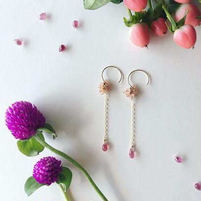 【14kgf】【9月誕生石】インカローズのざくろピアス 【September birthstone】 Inca Rose of pomegranate earrings