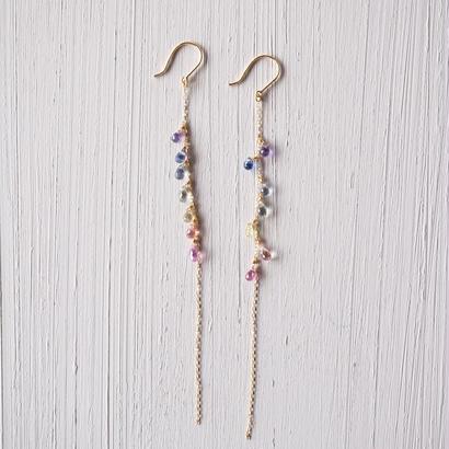 【K18】非加熱サファイアのレインボーピアス/Untreated sapphire earrings