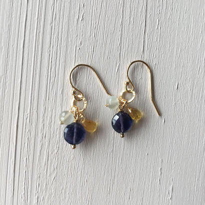 【14kgf】【9月誕生石】アイオライトとサファイアのピアス【September birthstone】Iolite x Sapphire earrings