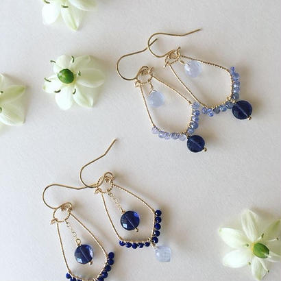 【14kgf】【9月誕生石】アイオライトとタンザナイトのシャンデリアピアス 【September birthstone】chandelier earrings Iolite and Tanzanite