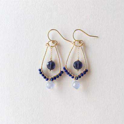 【14kgf】【9月誕生石】ラピスラズリとアイオライトのシャンデリアピアス【September birthstone】chandelier earrings Lapis and Iolite